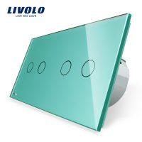 Intrerupator dublu + dublu cu touch Livolo din sticla culoare verde