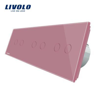 Intrerupator dublu+dublu+dublu cu touch Livolo din sticla culoare roz