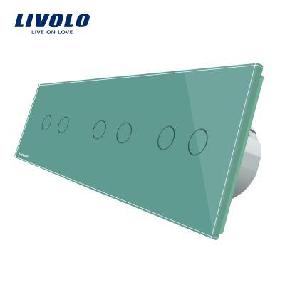 Intrerupator dublu+dublu+dublu cu touch Livolo din sticla culoare verde