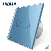 Intrerupator dublu wireless cu touch Livolo din sticla culoare albastra