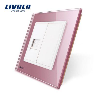 Priza internet Livolo cu rama din sticla culoare roz