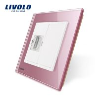 Priza simpla HDMI Livolo cu rama din sticla culoare roz