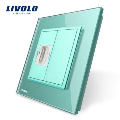 Priza simpla HDMI Livolo cu rama din sticla culoare verde
