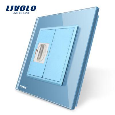 Priza simpla HDMI Livolo cu rama din sticla culoare albastra