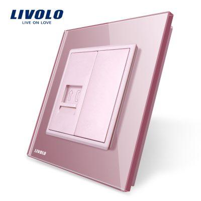 Priza simpla Telefon Livolo cu rama din sticla culoare roz