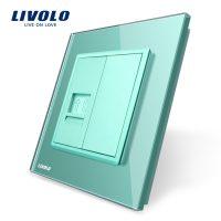 Priza simpla Telefon Livolo cu rama din sticla culoare verde