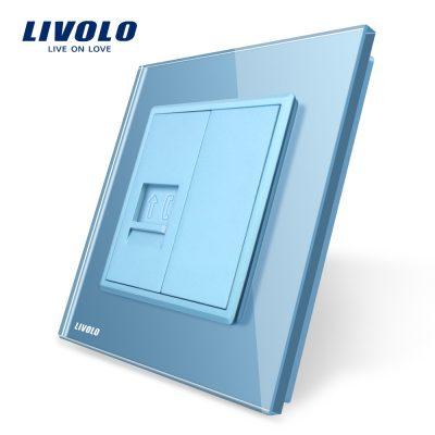 Priza simpla Telefon Livolo cu rama din sticla culoare albastra