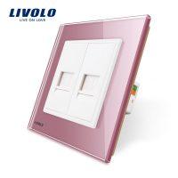 Priza dubla Telefon + Priza internet Livolo cu rama din sticla culoare roz