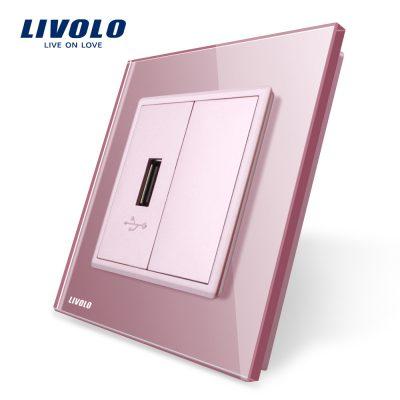 Priza USB Livolo cu rama din sticla culoare roz