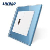 Priza USB Livolo cu rama din sticla culoare albastra