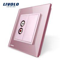 Priza simpla audio Livolo cu rama din sticla culoare roz