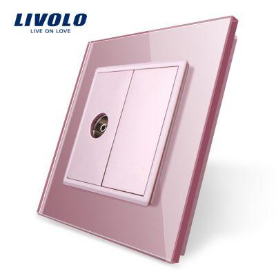 Priza simpla TV Livolo cu rama din sticla culoare roz
