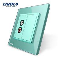 Priza simpla audio Livolo cu rama din sticla culoare verde