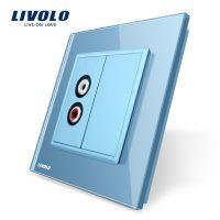 Priza simpla audio Livolo cu rama din sticla culoare albastra
