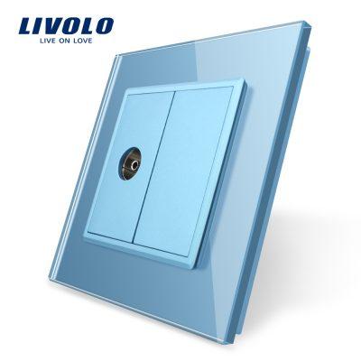 Priza simpla TV Livolo cu rama din sticla culoare albastra