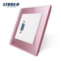 Priza cu mufa VGA mama Livolo cu rama din sticla culoare roz