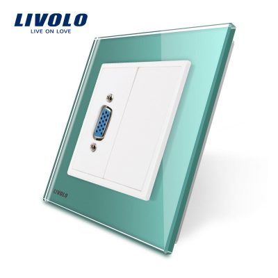 Priza cu mufa VGA mama Livolo cu rama din sticla culoare verde