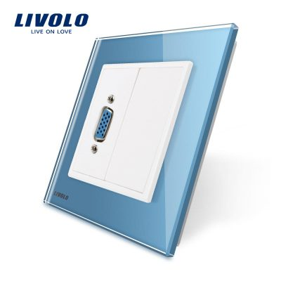 Priza cu mufa VGA mama Livolo cu rama din sticla culoare albastra