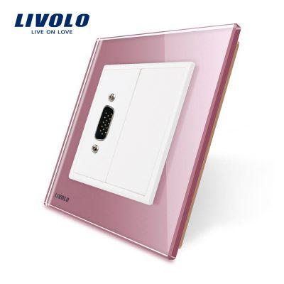 Priza cu mufa VGA tata 15 pini Livolo cu rama din sticla culoare roz