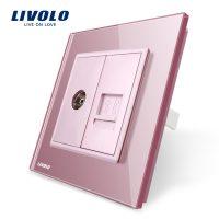 Priza dubla TV + Telefon Livolo cu rama din sticla culoare roz