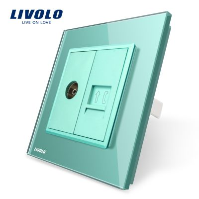 Priza dubla TV + Telefon Livolo cu rama din sticla culoare verde