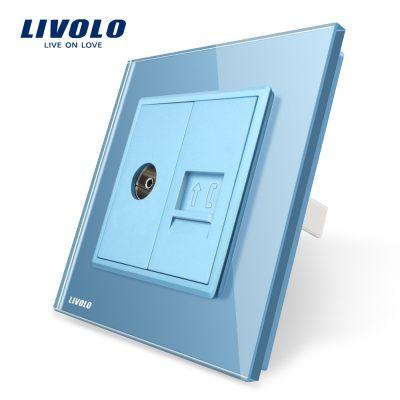 Priza dubla TV + Telefon Livolo cu rama din sticla culoare albastra