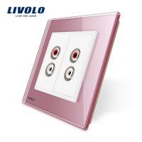 Priza dubla audio Livolo cu rama din sticla culoare roz