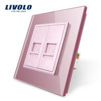 Priza dubla internet Livolo cu rama din sticla culoare roz