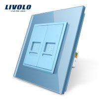 Priza dubla internet Livolo cu rama din sticla culoare albastra