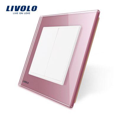 Priza blank/goala Livolo cu rama din sticla culoare roz