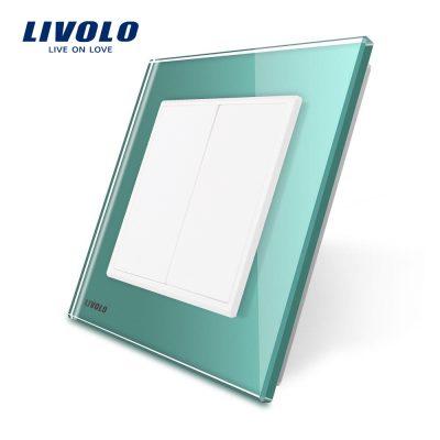 Priza blank/goala Livolo cu rama din sticla culoare verde