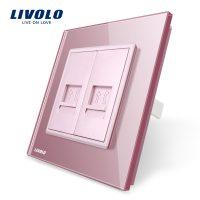 Priza dubla Telefon Livolo cu rama din sticla culoare roz