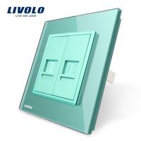 Priza dubla Telefon Livolo cu rama din sticla culoare verde