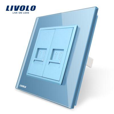 Priza dubla Telefon Livolo cu rama din sticla culoare albastra