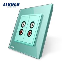 Priza dubla audio Livolo cu rama din sticla culoare verde