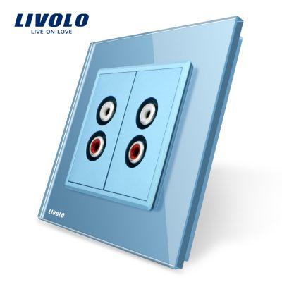 Priza dubla audio Livolo cu rama din sticla culoare albastra