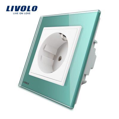 Priza simpla Livolo cu rama din sticla culoare verde