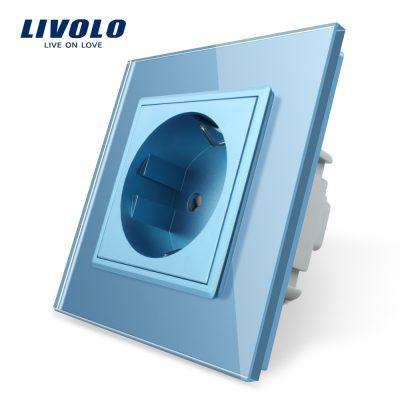 Priza simpla Livolo cu rama din sticla culoare albastra