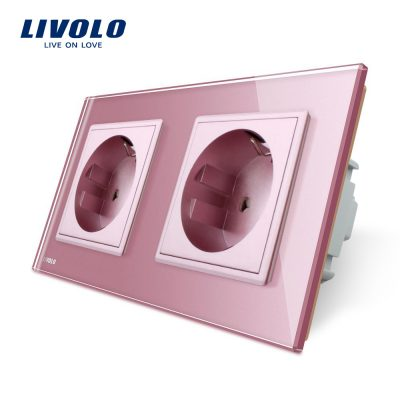 Priza dubla Livolo cu rama din sticla culoare roz