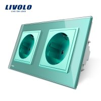 Priza dubla Livolo cu rama din sticla culoare verde