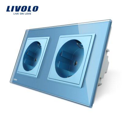 Priza dubla Livolo cu rama din sticla culoare albastra