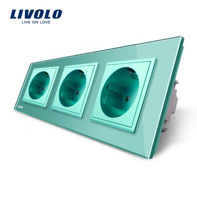 Priza tripla Livolo cu rama din sticla culoare verde