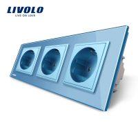 Priza tripla Livolo cu rama din sticla culoare albastra
