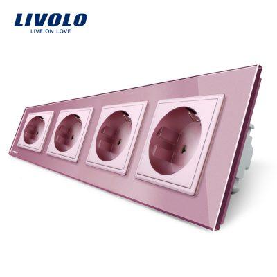 Priza cvadrupla Livolo cu rama din sticla culoare roz