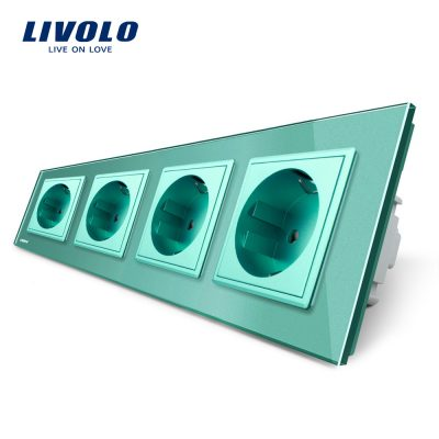 Priza cvadrupla Livolo cu rama din sticla culoare verde