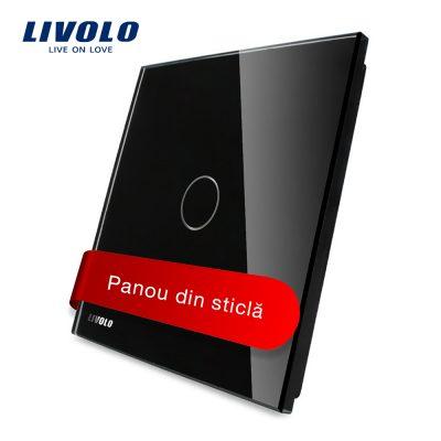 Panou intrerupator cu touch Livolo din sticla culoare neagra