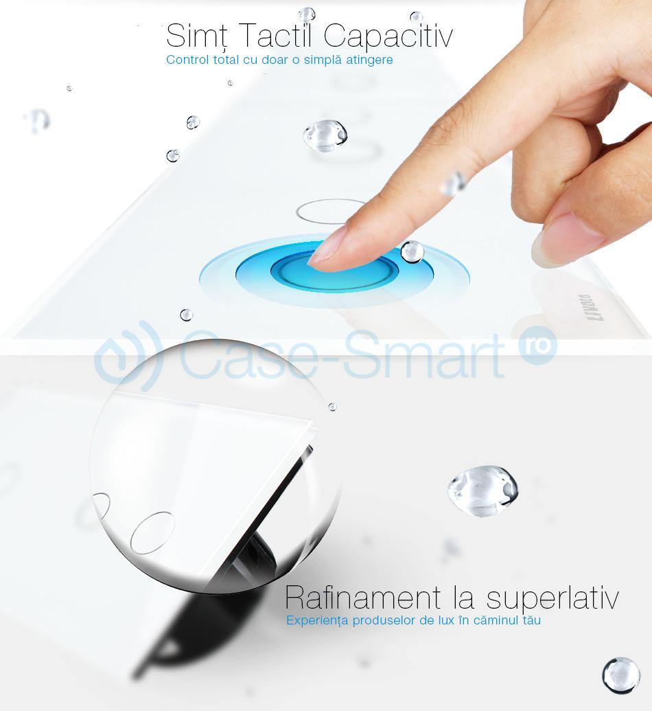 Intrerupator dublu+dublu+dublu cu touch Wireless Livolo din sticla