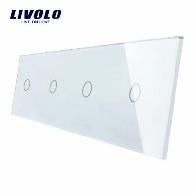 Panou 4 intrerupatoare simple cu touch Livolo din sticla