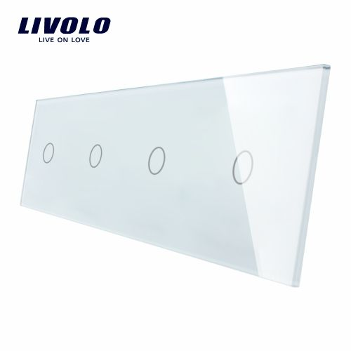 Panou 4 intrerupatoare simple cu touch Livolo din sticla imagine case-smart.ro 2021