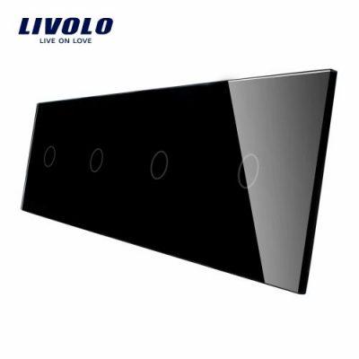 Panou 4 intrerupatoare simple cu touch Livolo din sticla culoare neagra